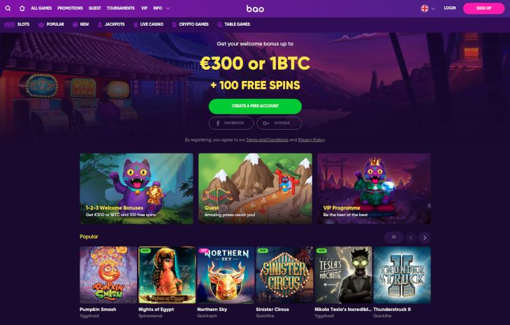 Bao Casino home page