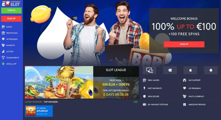 EUSlot Casino home page