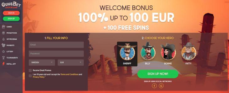 Guns Bet Casino home page