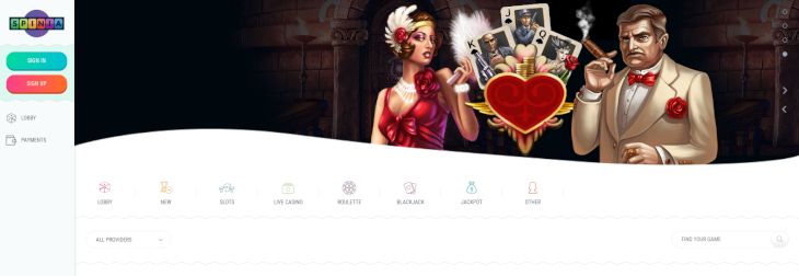 Spinia Casino home page