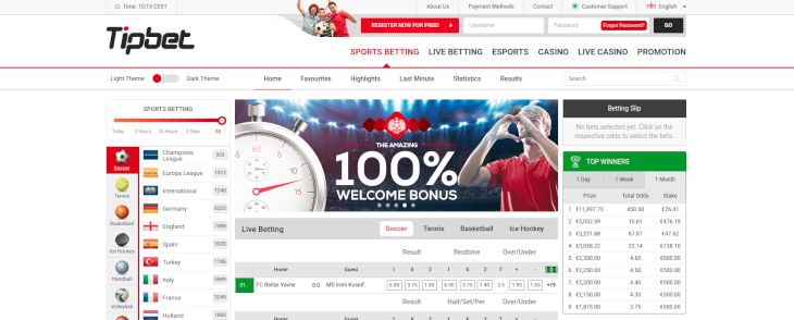 Tipbet home page