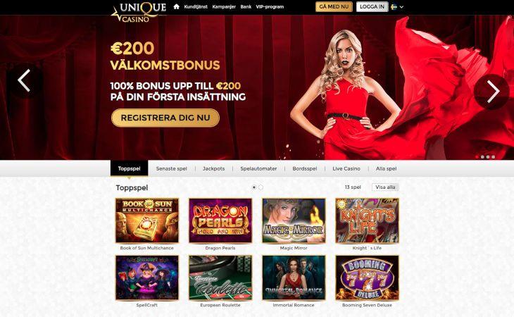 Unique Casino home page