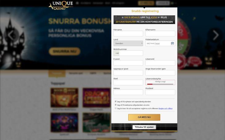Unique Casino registration