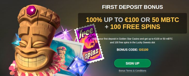 GoldenStar Casino welcome bonus
