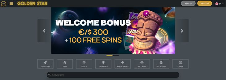 Golden Star Casino homepage