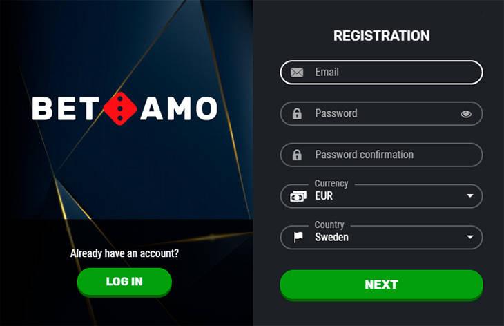 BetAmo registreringsprocessen