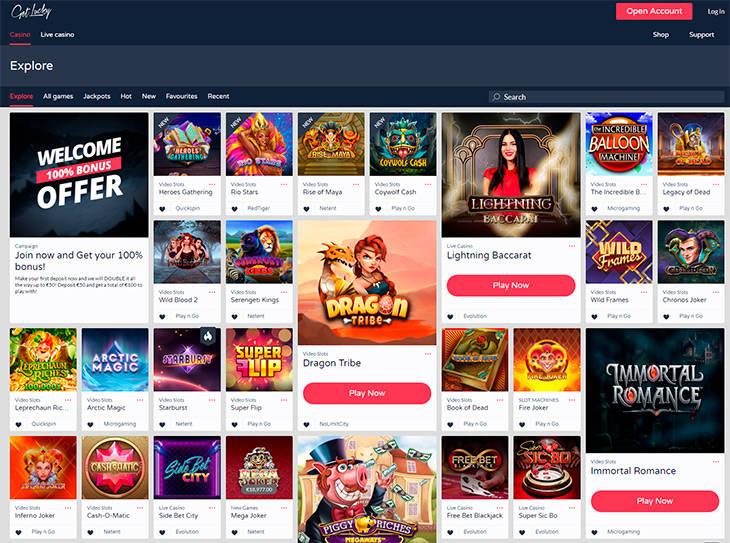 GetLucky Casino home page