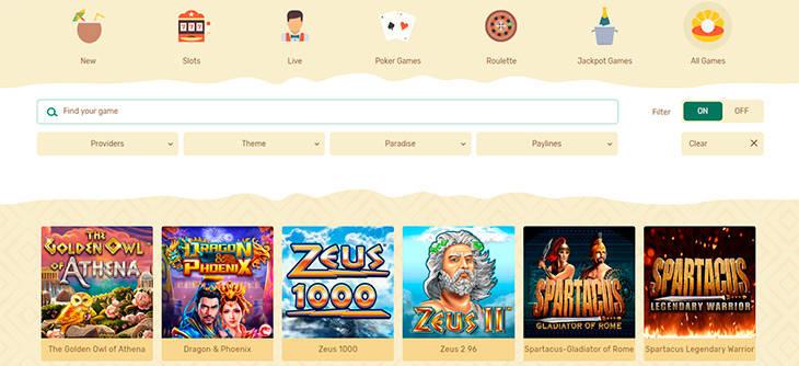 Paradise Casino spelutbudet