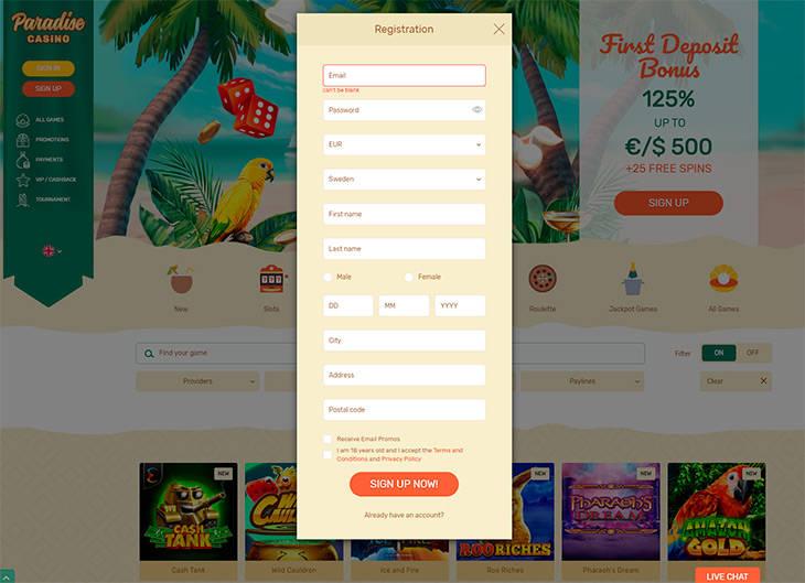 Paradise Casino registreringsprocessen