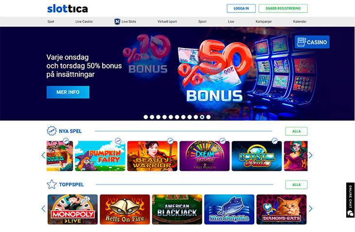 Slottica home page