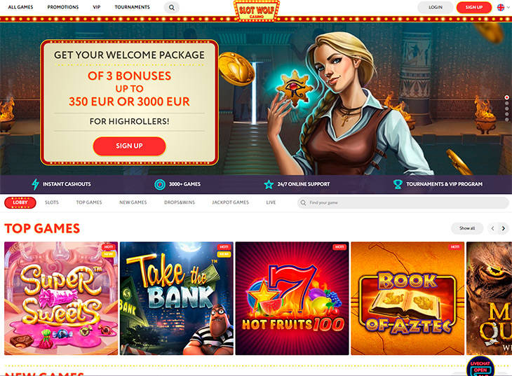 SlotWolf Casino home page