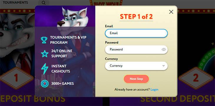 SlotWolf Casino registreringsprocessen