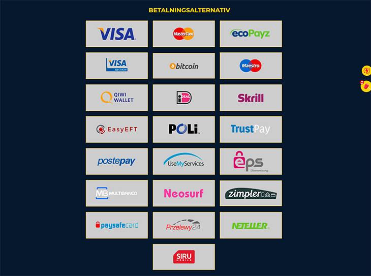 SpinUp Casino betalningsalternativ