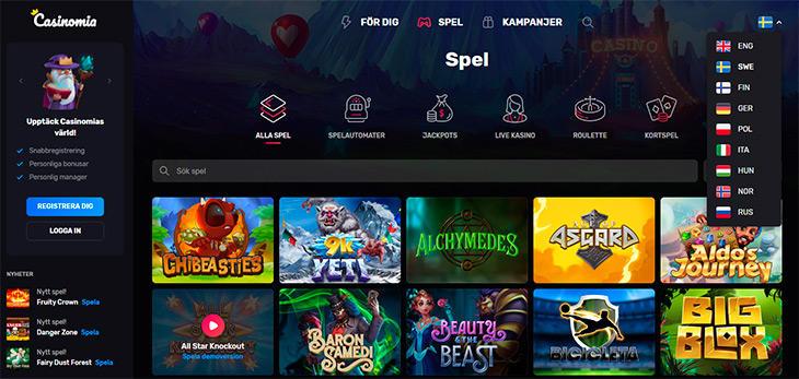 Casinomia spelutbud
