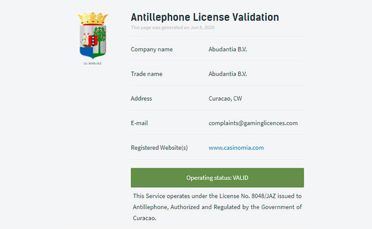Casinomia licens