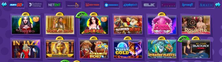 Explosion Casino spelutbud